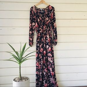 Honey & Rosie-Floral Print Long Sleeve Maxi Dress